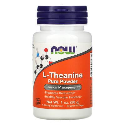 Купить Now Foods L-теанин, чистый порошок, 28г (1унция)