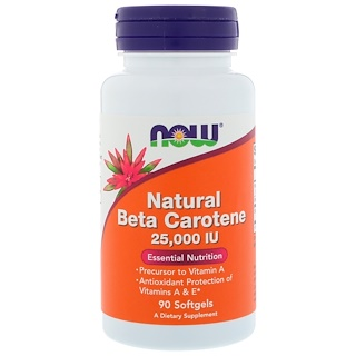 Now Foods, Natural Beta Carotene, 25,000 IU, 90 Softgels
