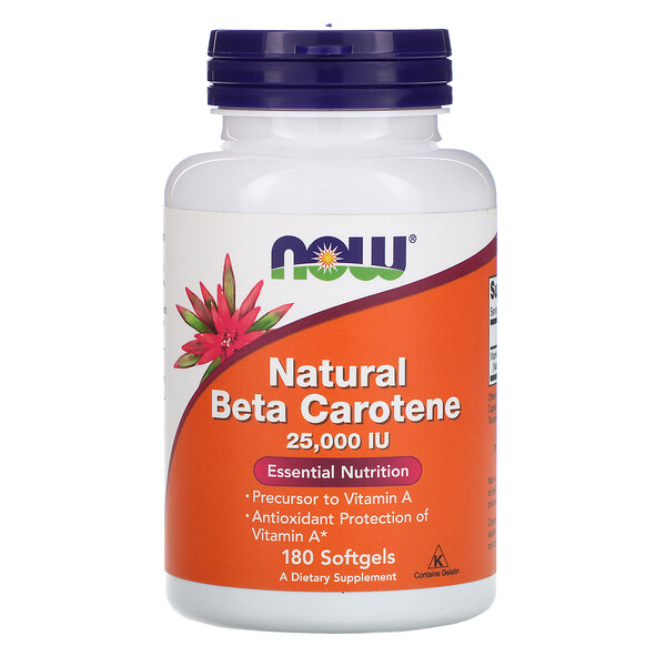 Beta caroteno natural, 25,000 IU, 180 perlas