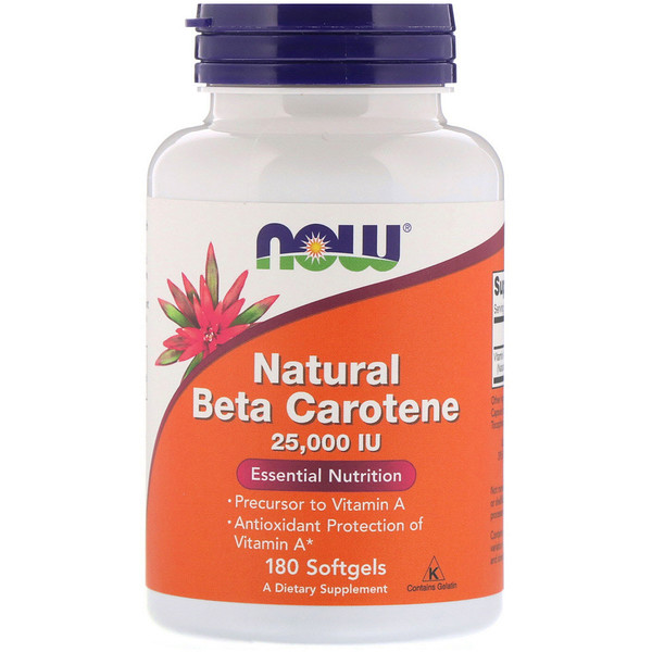 Natural Beta Carotene, 25,000 IU, 180 Softgels