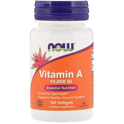 Купить Now Foods Витамин A, 10 000 МЕ, 100 мягких таблеток