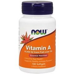 Now Foods, Vitamin A, 10,000 IU, 100 Softgels