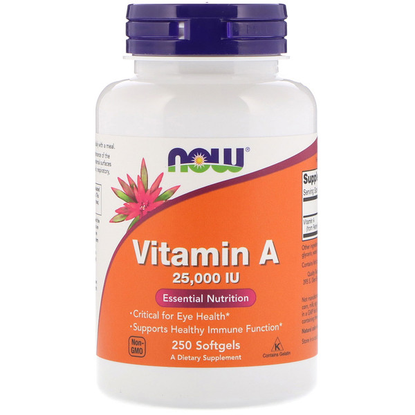 Now Foods, Vitamine A, 25 000 UI, 250 Softgels