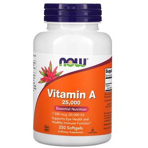 Now Foods, Vitamin A, 25,000 IU, 250 Softgels отзывы