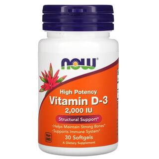 Now Foods, Vitamin D-3, 50 mcg (2,000 IU), 30 Softgels