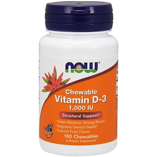 Now Foods, 噛めるビタミンD-3, 自然なフルーツ風味, 1,000 IU, 180チュアブル錠
