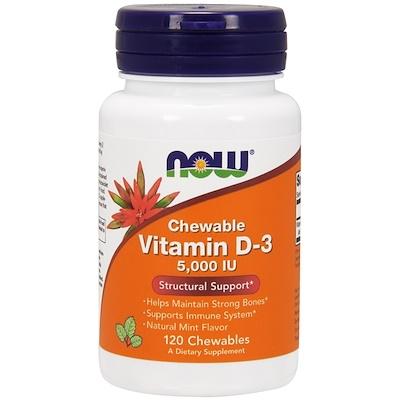 Жевательный витамин D3, с натуральным вкусом мяты, 5000 МЕ, 120 жевательных таблеток недорого