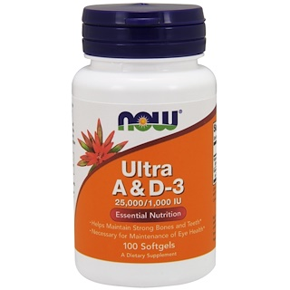 Now Foods, Ultra A & D-3, 25,000/1,000 IU, 100 Softgels