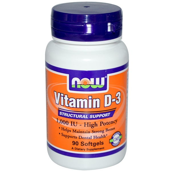 Now Foods, Vitamin D-3, 1000 IU, 90 Softgels (Discontinued Item)