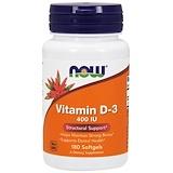 Отзывы о Now Foods, Витамин D-3, 400МЕ, 180мягких таблеток