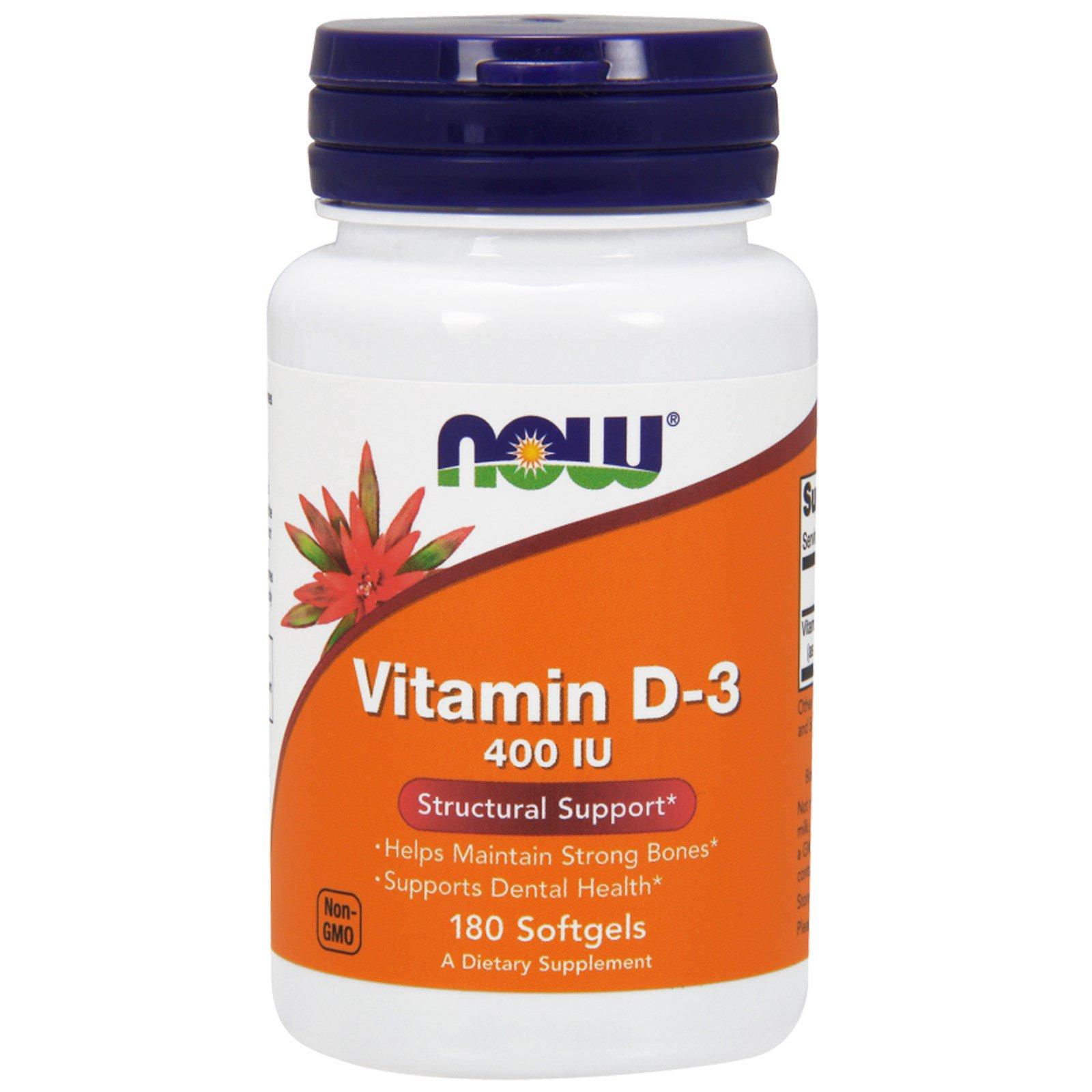 Now Foods, Витамин D-3, 400 единиц, 180 мягких капсул