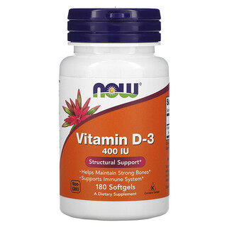 Now Foods, Vitamina D3, 400 IU, 180 cápsulas de gel