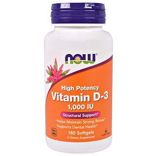 Now Foods, High Potency Vitamin D-3, High Potency, 1,000 IU, 180 Softgels
