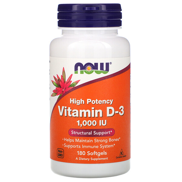Vitamin D-3 High Potency, 25 mcg (1,000 IU), 180 Softgels