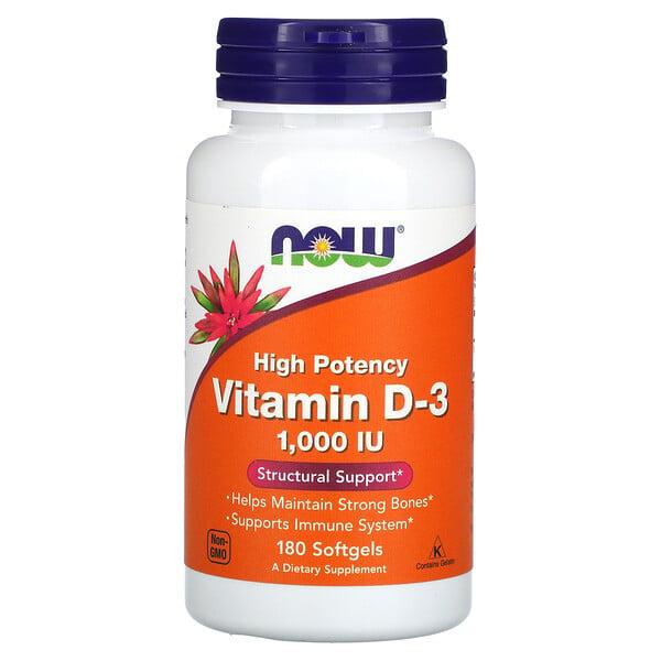 Vitamin D-3, High Potency, 1,000 IU, 180 Softgels