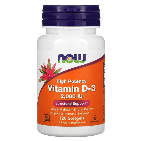 Now Foods, High Potency Vitamin D-3, 50 mcg (2,000 IU), 120 Softgels