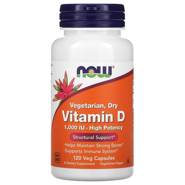 Vegetarian. Dry Vitamin D, 1,000 IU, 120 Veg Capsules