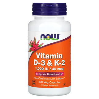 Now Foods, Vitamin D-3 & K-2, 120 Veg Capsules