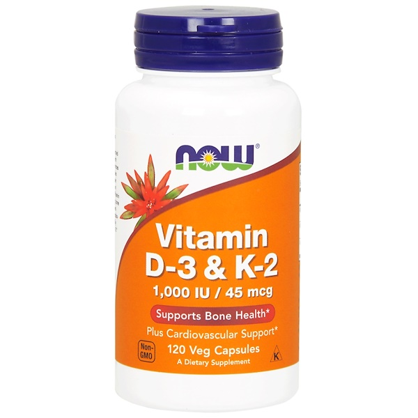 Now Foods, Vitamin D-3 & K-2, 120 Veg Capsules