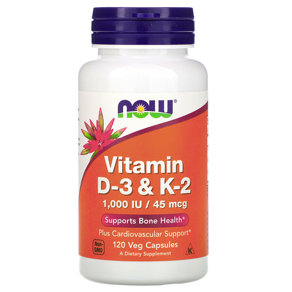 Now Foods, Vitamina D-3 e K-2, 45 mcg (1.000 UI), 120 Cápsulas Vegetais