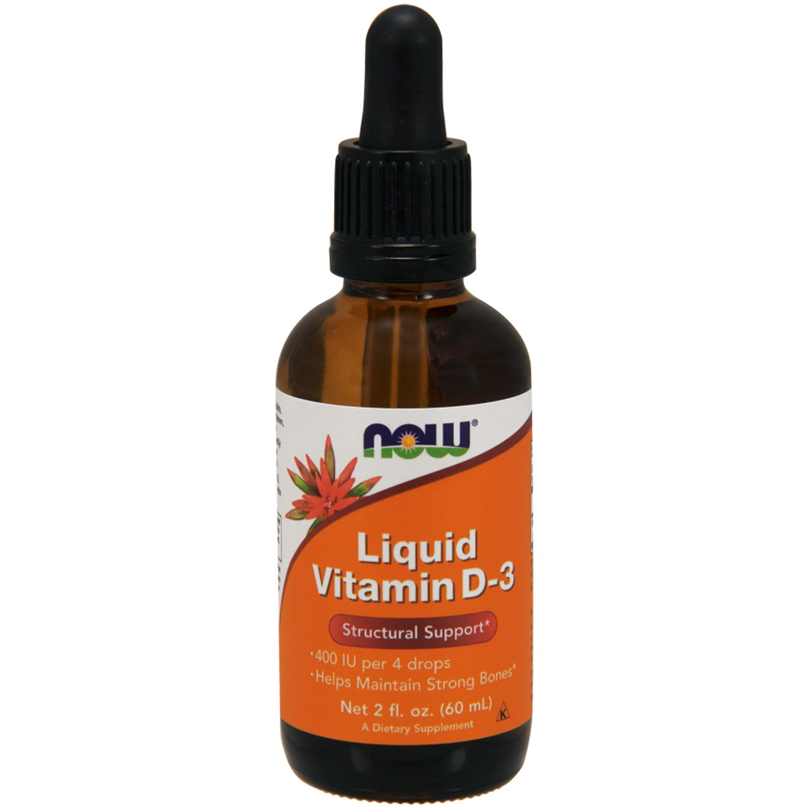 Now Foods, Жидкий витамин D-3, 2 жидкие унции (60 мл)