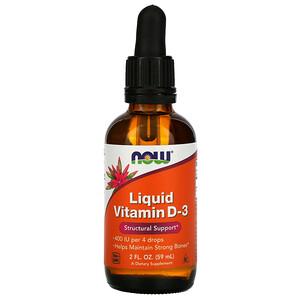 Now Foods, Liquid Vitamin D-3, 10 mcg (400 IU), 2 fl oz (59 ml) отзывы покупателей