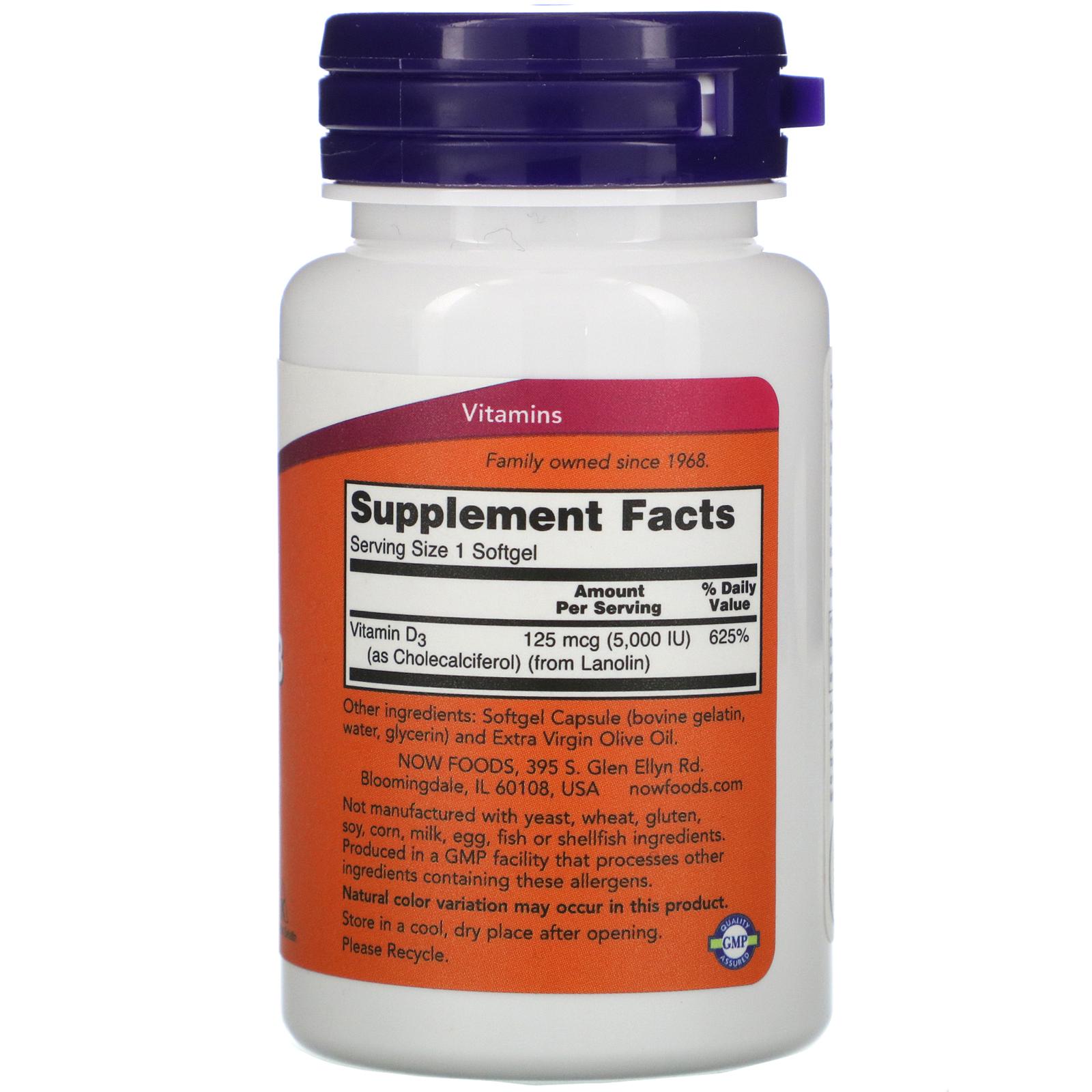 Now Foods Vitamin D 3 High Potency 5 000 Iu 120 Softgels Iherb
