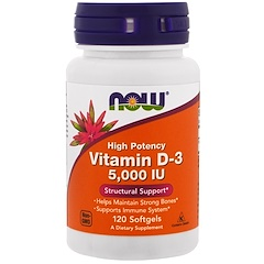 Now Foods, Vitamin D-3, High Potency, 5,000 IU, 120 Softgels