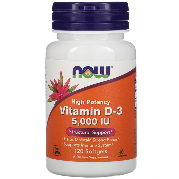 Now Foods, Vitamina D-3, Alta Potência, 5.000 UI, 120 Softgels