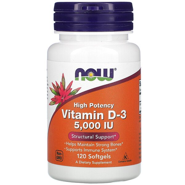 Now Foods, High Potency Vitamin D-3, 125 mcg (5,000 IU), 120 Softgels