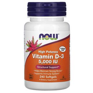 Now Foods, Vitamin D-3, 125 mcg (5,000 IU), 240 Softgels