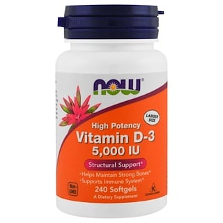 Now Foods, Vitamin D-3, 5.000 IU, 240 Weichkapseln
