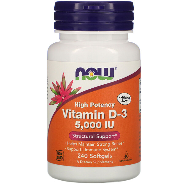 Now Foods, Vitamina D-3 de Alta Potência, 5.000 UI, 240 Cápsulas Softgel