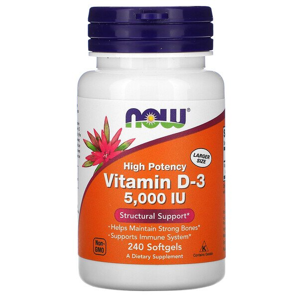 Now Foods, High Potency Vitamin D-3, 125 mcg (5,000 IU), 240 Softgels