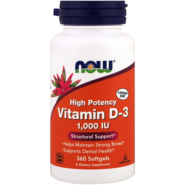 Now Foods, Vitamin D-3 High Potency, 1,000 IU, 360 Softgels