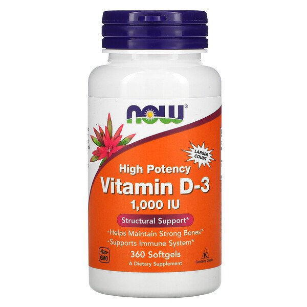 Now Foods, High Potency Vitamin D-3, 25 mcg (1,000 IU), 360 Softgels