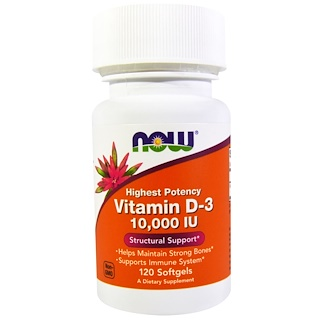 Now Foods, Vitamin D-3, 10.000 IE, 120 Softgel-Kapseln