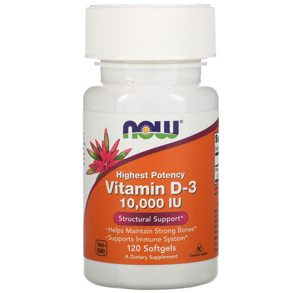 Now Foods, Highest Potency Vitamin D-3, 10,000 IU, 120 Softgels