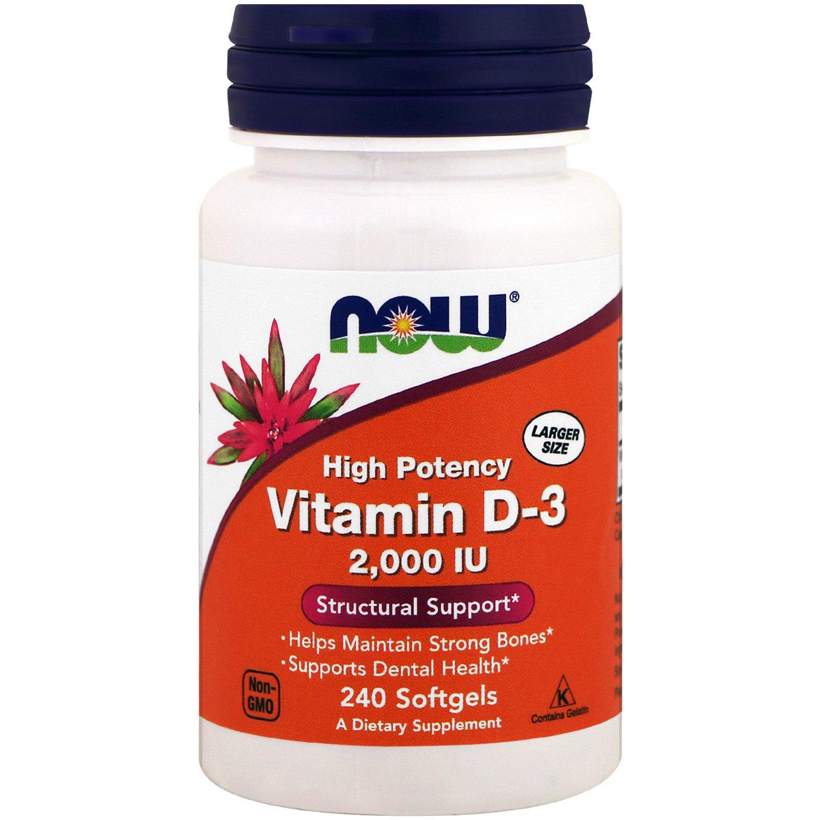 Now Foods, Витамин D-3, 2,000 IU, 240 мягких капсул