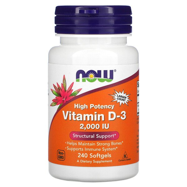 Now Foods, Vitamin D-3 High Potency, 50 mcg (2,000 IU), 240 Softgels