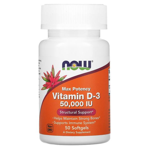 Now Foods, Vitamin D-3, 50,000 IU, 50 Softgels