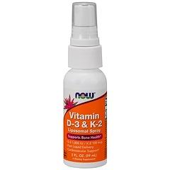Now Foods, Vitamin D-3 & K-2, Liposomal Spray, D-3 1,000 IU / K-2 100 mcg, 2 fl oz (59 ml)