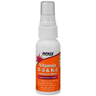 Now Foods, Vitamin D-3 & K-2, Liposomal Spray, D-3 1,000 IU / K-2 100 mcg, 2 fl oz (59 ml)