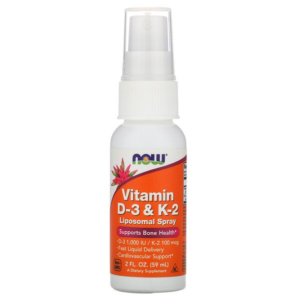 Now Foods, Vitamin D-3 & K-2, Liposomal Spray, 2 fl oz (59 ml)