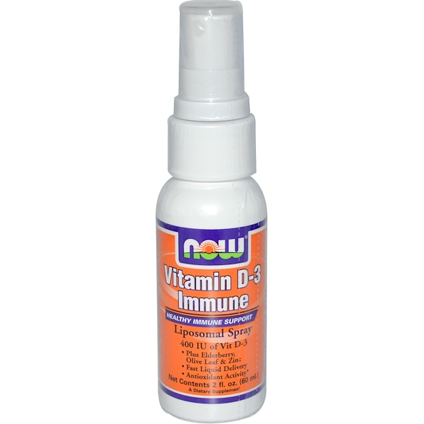 Now Foods, Vitamin D-3 Immune, Liposomal Spray, 2 fl oz (60 ml) (Discontinued Item)