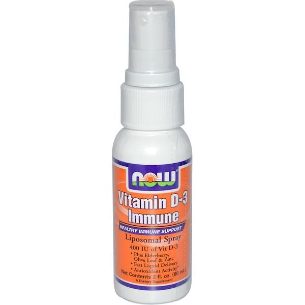 Now Foods, Vitamin D-3 Immune, Liposomal Spray, 2 fl oz (60 ml) (Discontinued Item)