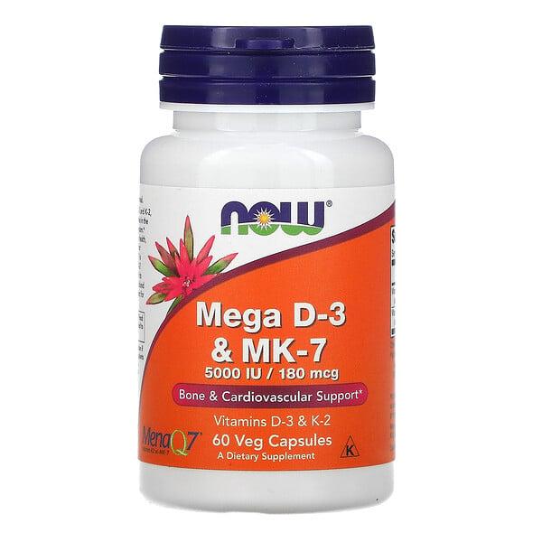 Now Foods, Mega D-3 & MK-7, Vitamin D3 und MK-7, 180mcg (5.000IU), 60vegetarische Kapseln