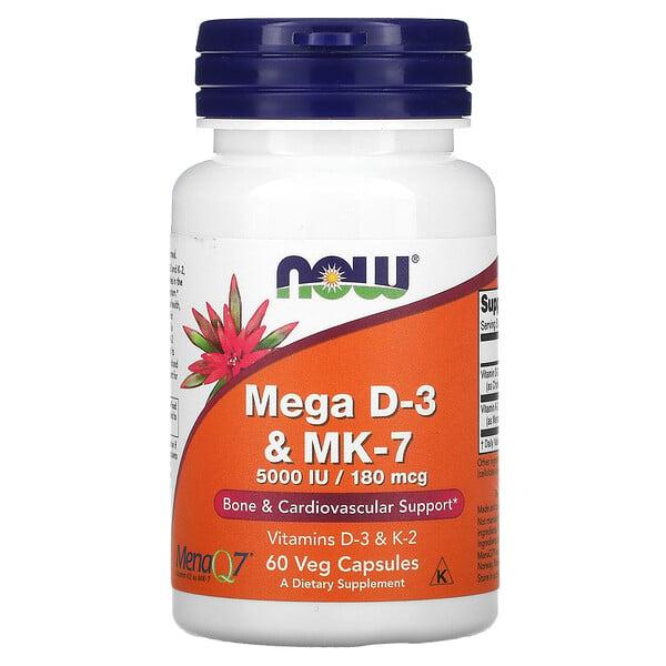 MegavitaminaD3 y MK-7, 180mcg, (5000UI), 60cápsulas vegetales