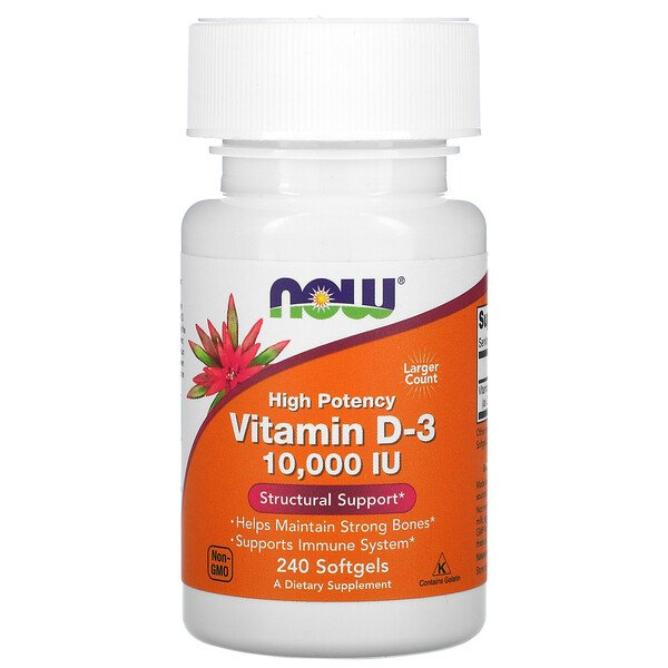 Now Foods, High Potency Vitamin D-3, 10,000 IU, 240 Softgels