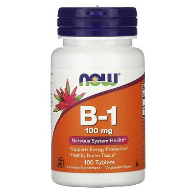 Now Foods B1, 100 мг, 100 таблеток  - купить со скидкой